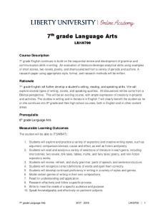 7 th grade Language Arts