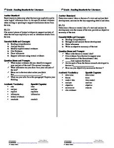 7 th Grade Reading Standards for Literature 7 th Grade Reading Standards for Literature