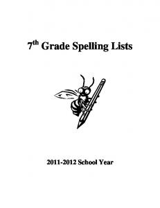7 th Grade Spelling Lists