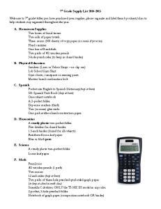 7 th Grade Supply List