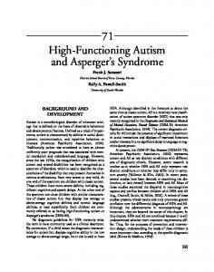 71 High-Functioning Autism and Asperger s Syndrome Frank J. Sansosti