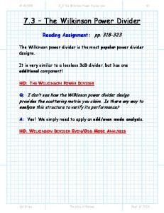 7.3 The Wilkinson Power Divider
