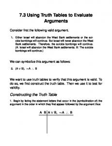 7.3 Using Truth Tables to Evaluate Arguments