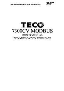 7300CV MODBUS USER S MANUAL COMMUNICATION INTERFACE