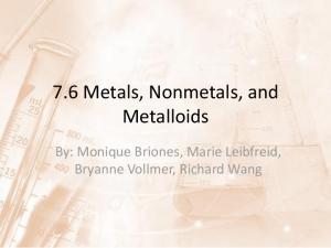 7.6 Metals, Nonmetals, and Metalloids. By: Monique Briones, Marie Leibfreid, Bryanne Vollmer, Richard Wang