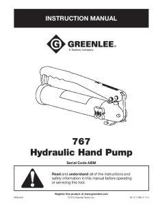767 Hydraulic Hand Pump
