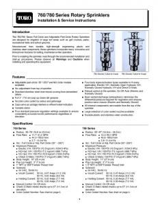 780 Series Rotary Sprinklers Installation & Service Instructions