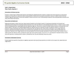 7th grade Algebra Curriculum Guide