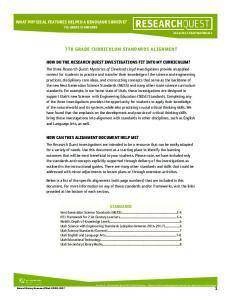7TH GRADE CURRICULUM STANDARDS ALIGNMENT