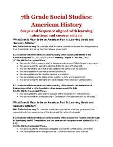 7th Grade Social Studies: American History