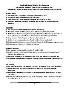 7th Grade Social Studies Key Concepts