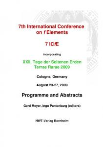 7th International Conference on f Elements. 7 ICfE