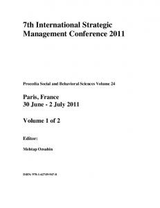 7th International Strategic Management Conference 2011