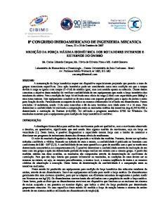 8º CONGRESO IBEROAMERICANO DE INGENIERIA MECANICA Cusco, 23 a 25 de Outubro de 2007