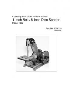 8-Inch Disc Sander Model Part No Revision A1