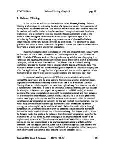 8. Kalman Filtering. ATM 552 Notes Kalman Filtering: Chapter 8 page 231