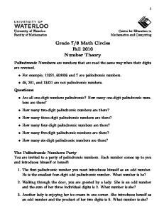 8 Math Circles Fall 2010 Number Theory