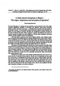 8. State-owned enterprises in Russia The origin, importance and principles of operation 1