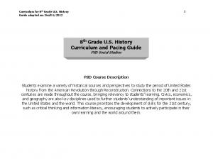 8 th Grade U.S. History Curriculum and Pacing Guide PSD Social Studies
