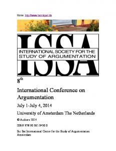 8 th International Conference on Argumentation