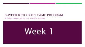 8-WEEK KETO BOOT CAMP PROGRAM. Week 1