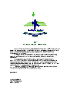 80 th LEHIGH VALLEY AMATEUR