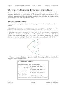 8.1 The Multiplication Principle; Permutations