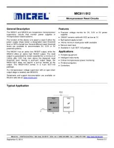 812. General Description. Features. Applications. Typical Application. Microprocessor Reset Circuits