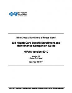 834 Health Care Benefit Enrollment and Maintenance Companion Guide. HIPAA version 5010