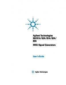 83A MXG Signal Generators. User s Guide. Agilent Technologies