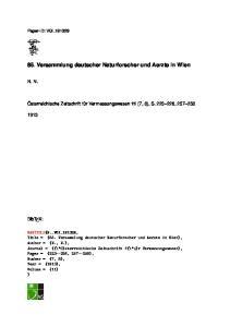 85. Versammlung deutscher Naturforscher und Aerzte in Wien