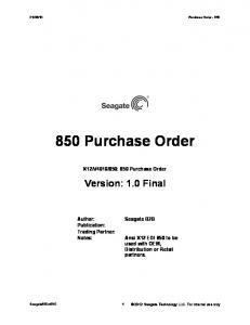 850: 850 Purchase Order. Version: 1.0 Final