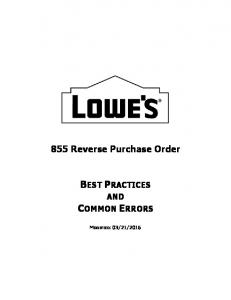 855 Reverse Purchase Order BEST PRACTICES AND COMMON ERRORS