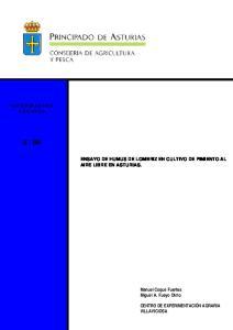 86 ENSAYO DE HUMUS DE LOMBRIZ EN CULTIVO DE PIMIENTO AL AIRE LIBRE EN ASTURIAS. Manuel Coque Fuertes Miguel A. Fueyo Olmo