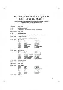 8th CIRCLE Conference Programme Dubrovnik