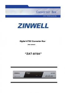 8VSB Converter Box. Digital ATSC Converter Box. User manual ZAT-970A