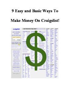 9 Easy and Basic Ways To. Make Money On Craigslist!