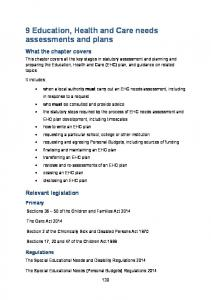 9 Education, Health and Care needs assessments and plans