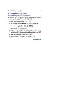9. L p -spaces, p [1, + ]