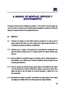 9. MANUAL DE MONTAJE, SERVICIO Y MANTENIMIENTO