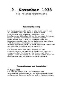 9. November Die Reichsprogromnacht. Zusammenfassung