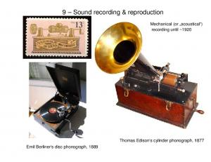 9 Sound recording & reproduction