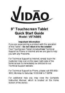 9 Touchscreen Tablet Quick Start Guide Model: V9TAB8S