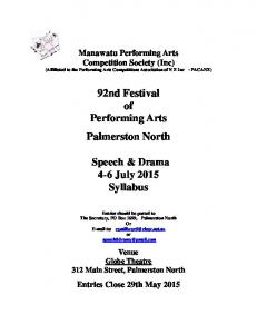 92nd Festival of Performing Arts Palmerston North. Speech & Drama 4-6 July 2015 Syllabus
