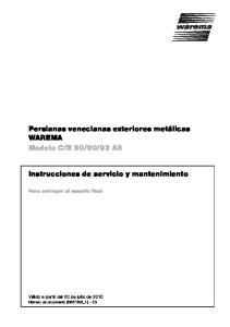 93 A8. Instrucciones de servicio y mantenimiento