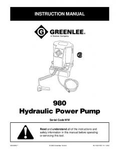 980 Hydraulic Power Pump
