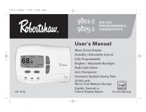 9801i i2. User's Manual DELUXE PROGRAMMABLE THERMOSTATS