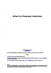 99 Ways For A Photographer To Make Money