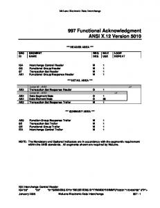 997 Functional Acknowledgment ANSI X.12 Version 5010