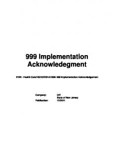 999: 999 Implementation Acknowledgement